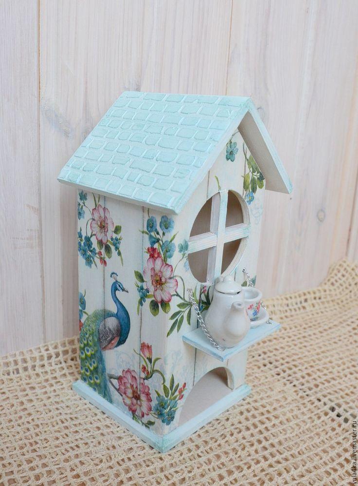 Купить Чайный домик с миниатюрной посудой - голубой, чайный домик, чайный домик декупаж, Декупаж