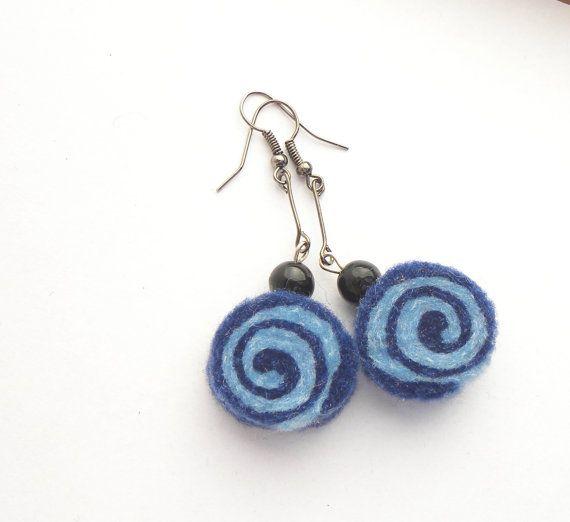Earrings, unique felted rolls, 69, felt earrings, merino wool earrings, very light, colorful earrings, unique pattern, handmade earrings,