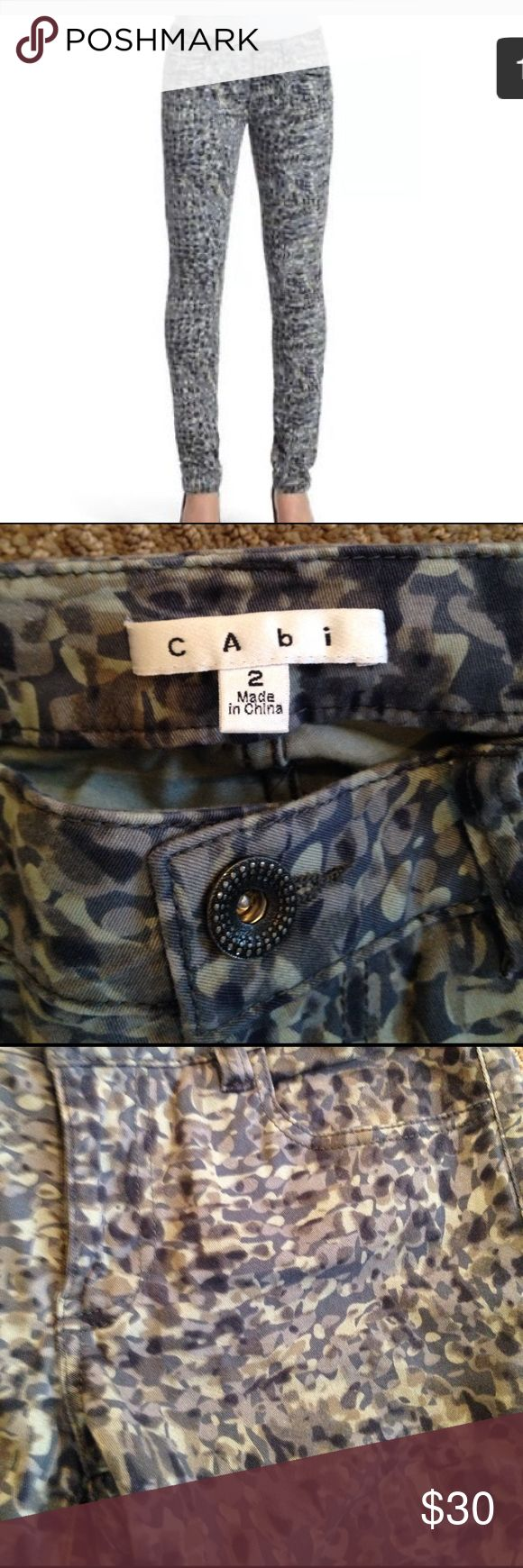 CAbi camouflage skinny jeans CAbi gray modern camouflage jegging skinny jeans. Style #604. Very good condition. CAbi Pants