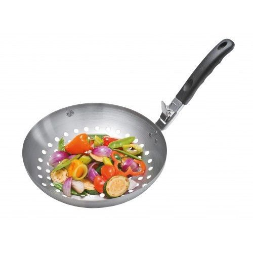 """This 11"""" wok creates crispy vegetables on the grill or in the oven. Sturdy handle easily detaches and reattaches with just a push of your thumb. Durable stainless steel wok is also a perfect eco-friendly alternative to disposable aluminum trays. #freeshipping"""