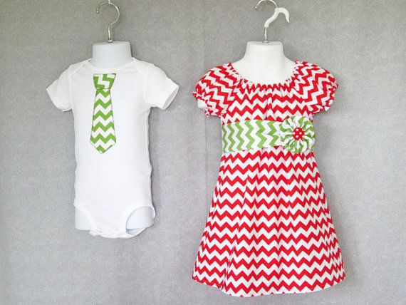 Matching Outfits Brother Sister - Girls Modern Peasant Dress Boys Tie  Bodysuit Shirt - Christmas Candy Cane Red Chevron - Holid…   Tis the season. - Matching Outfits Brother Sister - Girls Modern Peasant Dress Boys
