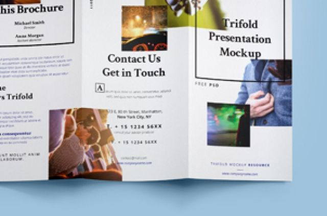 A very useful psd trifold mock-up template with a top view front and back cover to present your brochure project with...