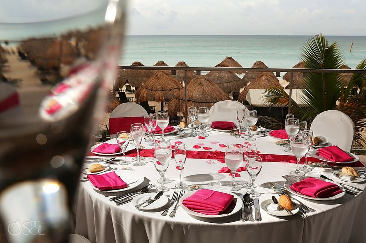 Riviera Maya Wedding at Now Jade, lovely hot pink table ...