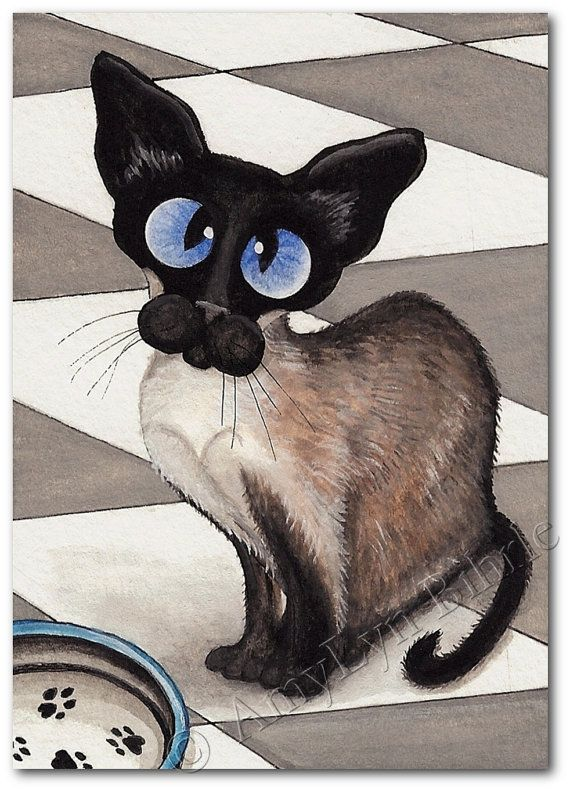 Siamese Cat Patiently Waiting for Dinner - Art Print or ACEO by Bihrle ck196