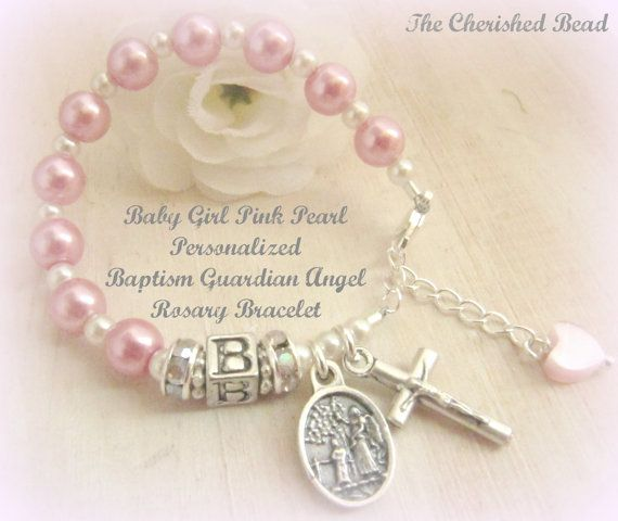 Baby Girl Personalized Rose Pink Pearl Guardian Angel