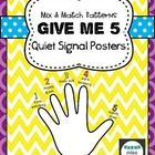 Cute & colorful posters for the Give Me 5 quiet signal.  1- eyes watching 2- mouth quiet 3- body still 4- ears listening 5- hands free  I love ...