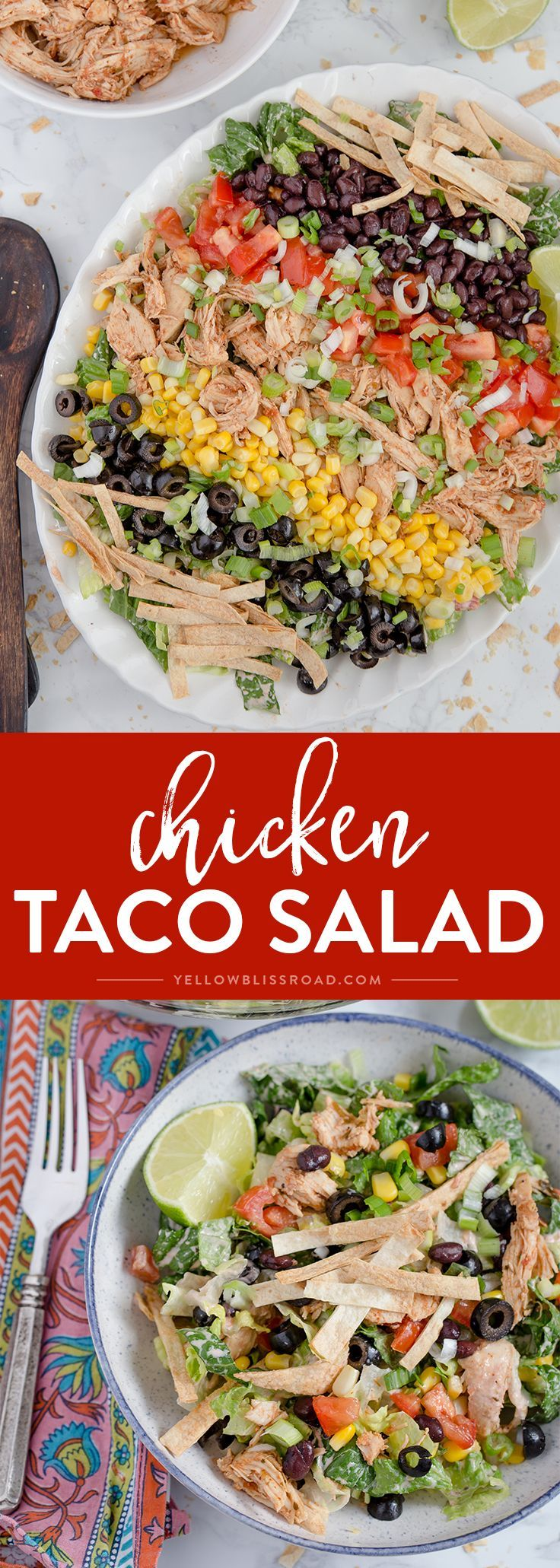 This Chicken Taco Salad is a delicious, quick and easy Mexican dinner that has all your favorite taco toppings with a spicy cream Salsa Ranch Dressing.