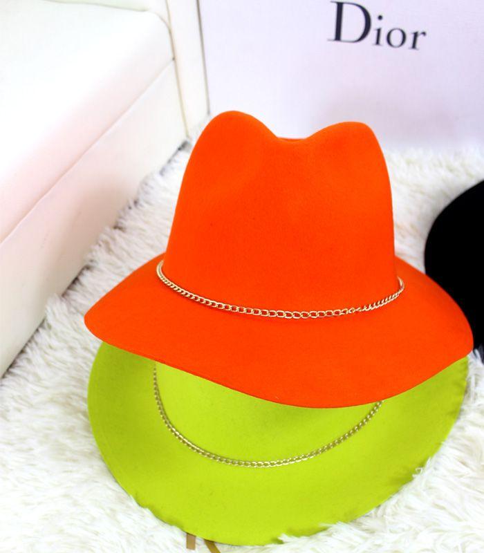 Бесплатная доставка европейской и американской большая шляпа мисс Хан Banchao шерстяные шляпы женщины шляпа летом британский стиль цепи горш ...