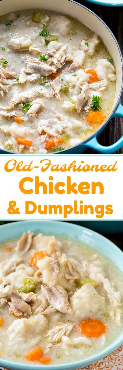 Old-Fashioned Chicken and Dumplings made from scratch is pure southern comfort food and it is not at all difficult to make. Tender dumplings, lots of shredded chicken, and a super flavorful broth make this an unbelievably delicious meal.