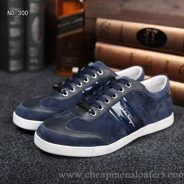 Special Offer Blue Salvatore Ferragamo Suede Sneakers Outlet Lace-Ups  http://www