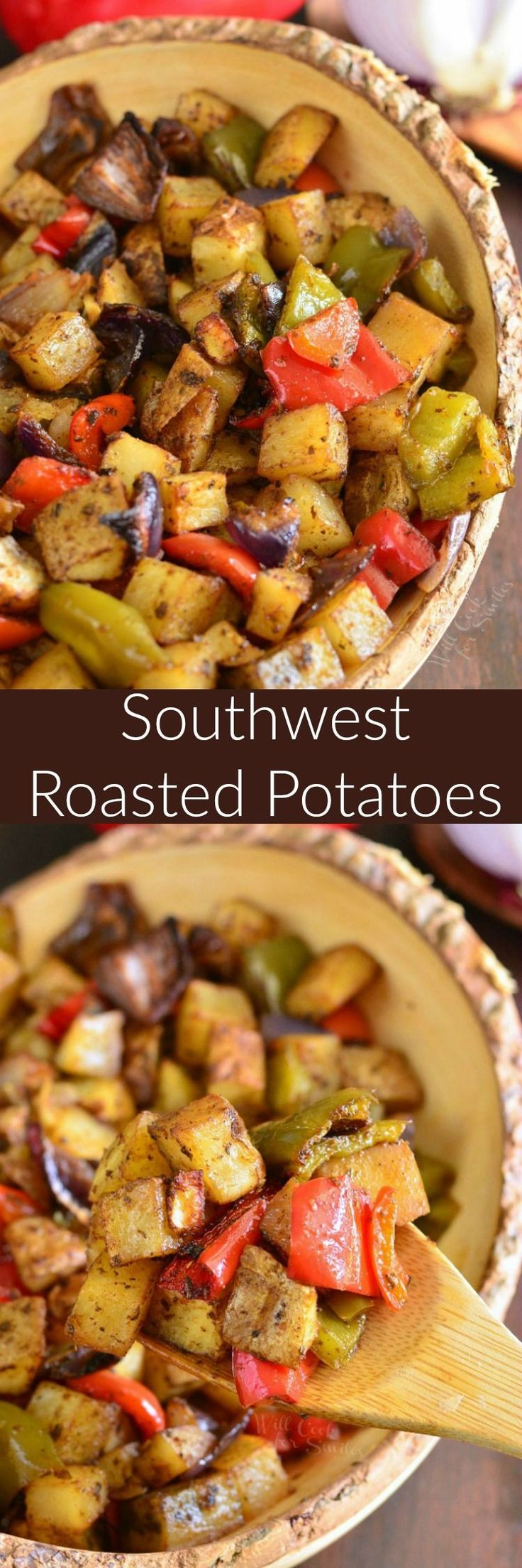 Southwest Roasted Potatoes. These roasted potatoes also have red onion and bell peppers added to them and are beautifully spiced with a southwest spice blend. (Whole Chicken And Potatoes)