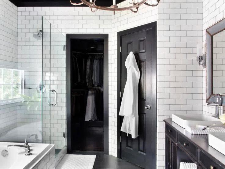 elegant bathroom makeover timeless black and white master bathroom makeover on hgtv love white subway tile and grey grout highgloss black doors