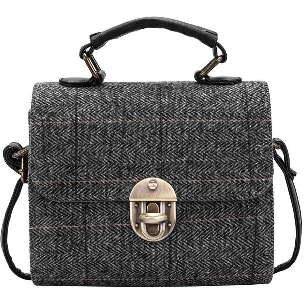 SheIn(sheinside) Grey Metal Buckle Plaid Shoulder Bag (85 MYR) ❤ liked on Polyvore featuring bags, handbags, shoulder bags, gray shoulder bag, grey purse, vintage handbags, grey shoulder bag and tartan handbag