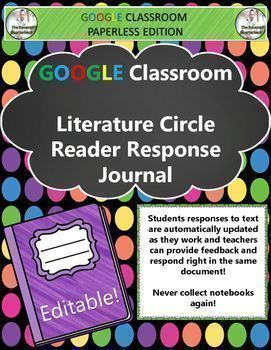 GO PAPERLESS!Sick of traditional Literature Circles with roles and tons of teacher supervision? Try this Google Classroom Alternative!Students will use the response journal to complete three different sections while reading the text:Part A: Reflections -