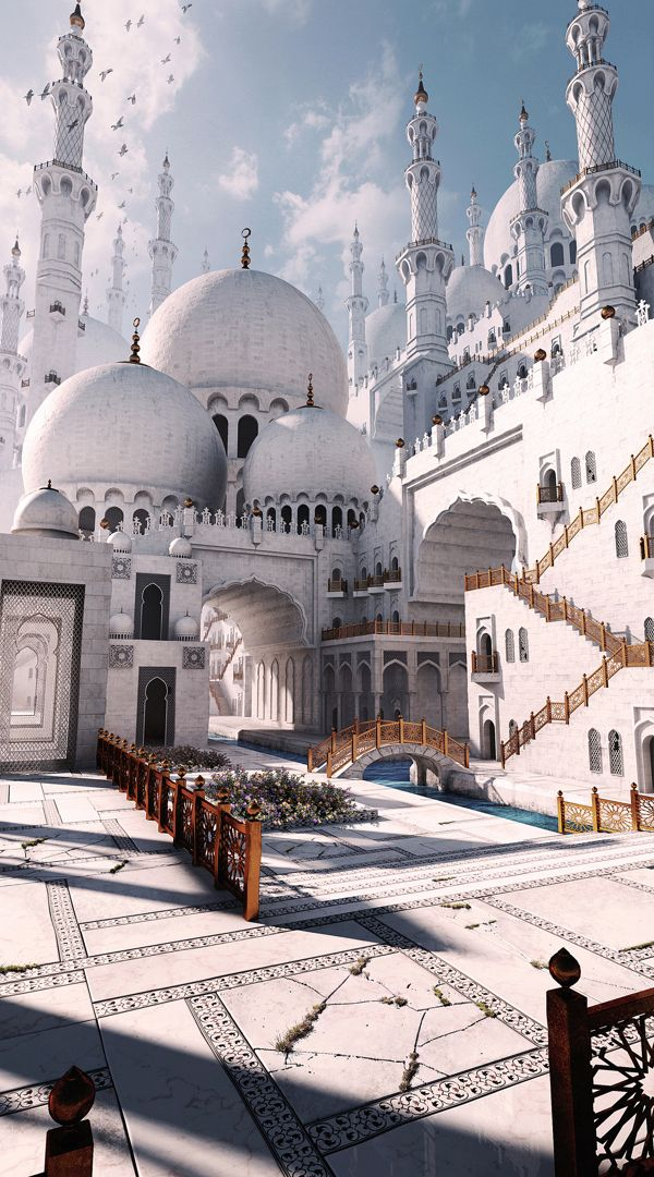 Gurmukh Bhasin: This is a personal concept of a Mosque. I combined the beauty of these religious buildings with a fantasy flavor.