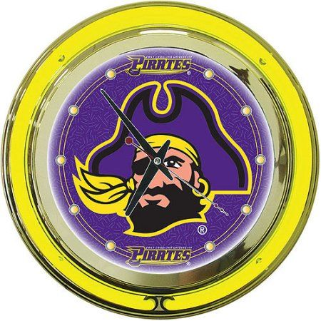 East Carolina University 14 inch Neon Wall Clock, Purple