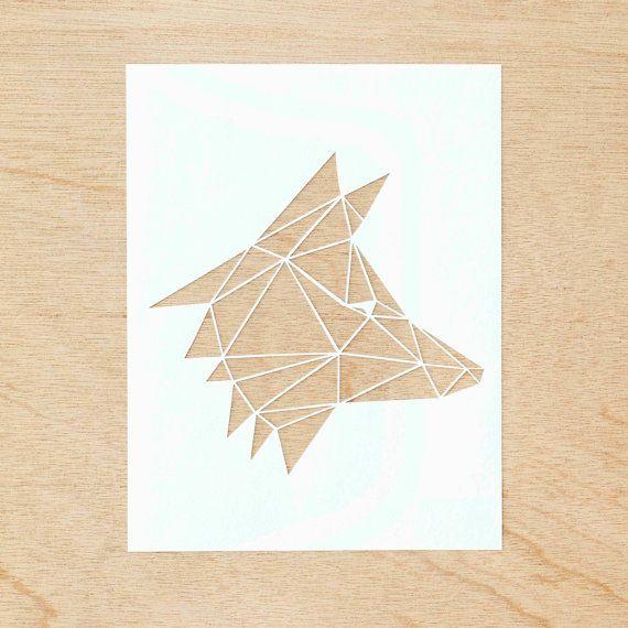Hand-Cut Papierknipkunst Artwork  geometrische Fox door lightpaper
