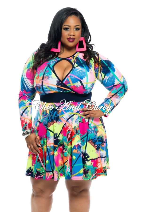 New Plus Size Skater Dress with Mesh Cutouts in White Blue, Green, and Pink Print