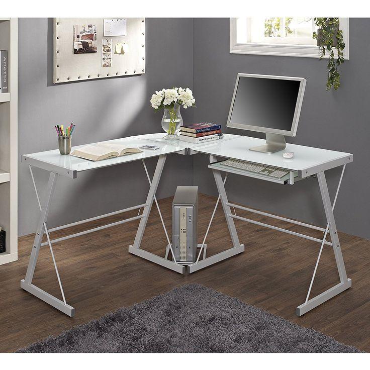 99+ White Glass Corner Desk - Luxury Home Office Furniture Check more at http://www.sewcraftyjenn.com/white-glass-corner-desk/