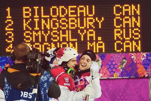 Alexandre Bilodeau and Mikael Kingsbury win Gold & Silver for Team Canada #Quebec #Sochi #2014