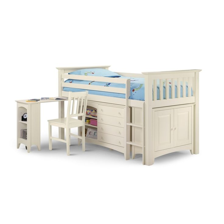 Kids Cabin Bed Sleep Station In White Lacquered Finish