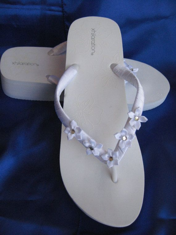 Bridal White Wedge Flip Flops Sandals with Organza by ABiddaBling