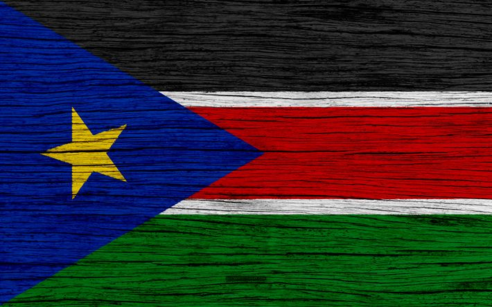 Download wallpapers Flag of South Sudan, 4k, Africa, wooden texture, national symbols, South Sudan flag, art, South Sudan