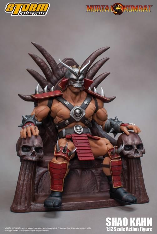 """""""You will die, mortal!"""" Storm Collectibles unveils their Mortal Kombat 2 Shao Khan 6 inch figure, with a throne.Click on the pic to preorder now"""