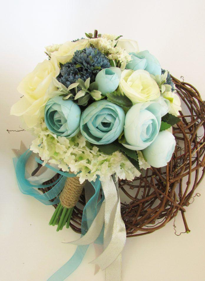 Mavi Gelin Çiçeği Modelleri - Gelin Buketi Fikirleri