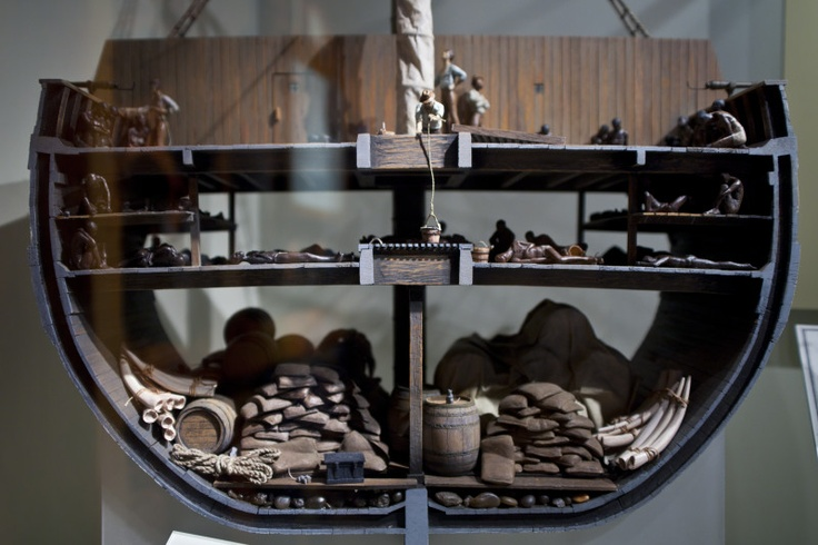 Slave Ship: A cut-away model of a typical ship of the early 1700's on the Middle Passage, the upper and middle decks packed with slaves.