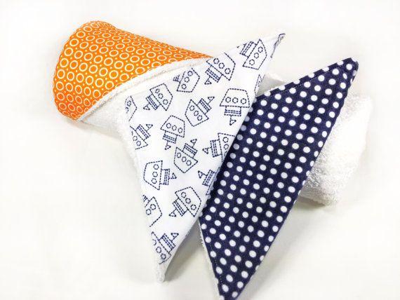 Baby Hooded Towel and Wash Cloths Set - Orange, White, Navy Blue - Orange Splash Collection