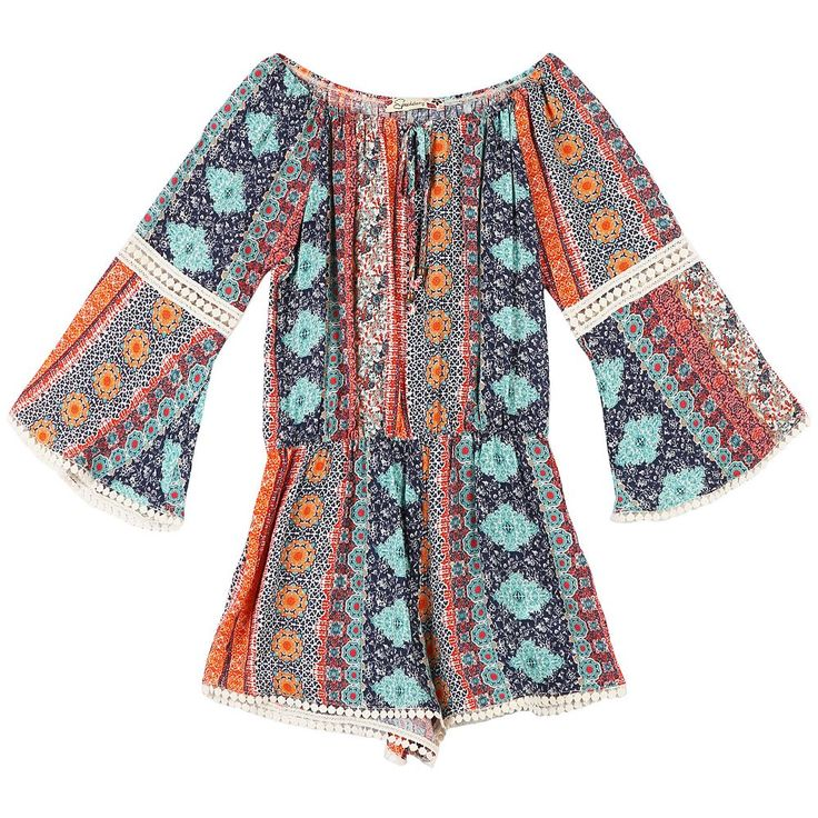 Girls 7-16 Speechless Patterned Bell Sleeve Romper with Lace Inset, Orange Oth