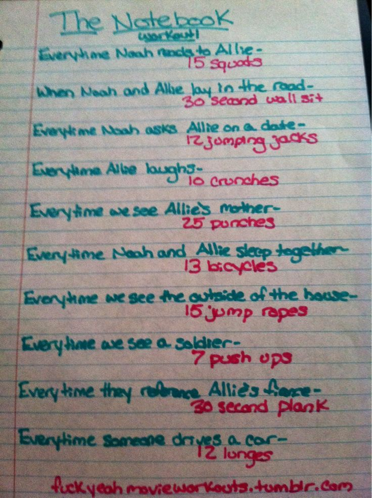 The Notebook movie workout!  Want to see more workouts like this one? Follow us here.