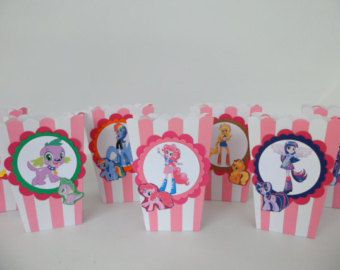 Equestria girls  My little pony Popcorn box Party Favors..Goodie bags. Candy box ..SET OF 10