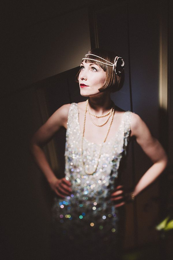 The Modern Day 1920s Inspired Bride, Louise Brooks inspired 1920s hair style, vintage and vintage inspired wedding dresses.  Photography - http://andygaines.com/ Head pieces - http://www.vintagebridalmillinery.com/ http://www.glorydaysvintage.co.uk/   Bokeh beautiful.