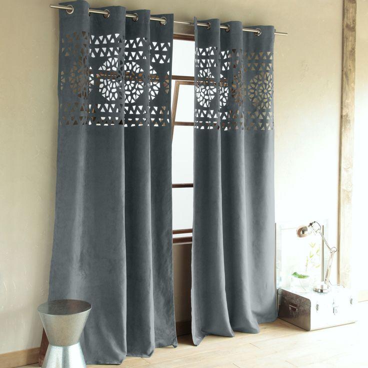 Rideau velours gris rideaux salon pinterest salons - Rideau salon gris ...