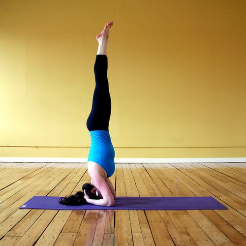 Since the Handstand is a pretty advanced inversion, it's good to work on the most stable inversion first, Headstand. Try this one known as Bound Headstand to build your strength and balance. Source: Laughing River Yoga Studio