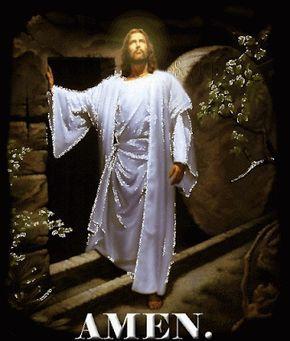 Ver Imagen de Jesús con un traje de color blanco en una edificación de roca con movimiento y brillo junto a la frase: Jesús Cristo está vivo!!! Aleluya Amen