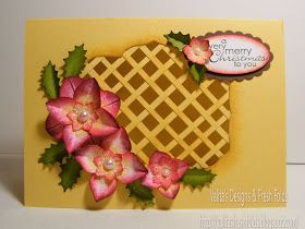 Valita's Designs & Fresh Folds: Lattice Christmas card front and many thanks