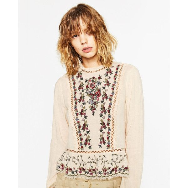 EMBROIDERED FRILLED TOP - View all-TOPS-WOMAN | ZARA United States (€54) ❤ liked on Polyvore featuring tops, volant, embroidered top, embroidery top, frilly tops and frill top