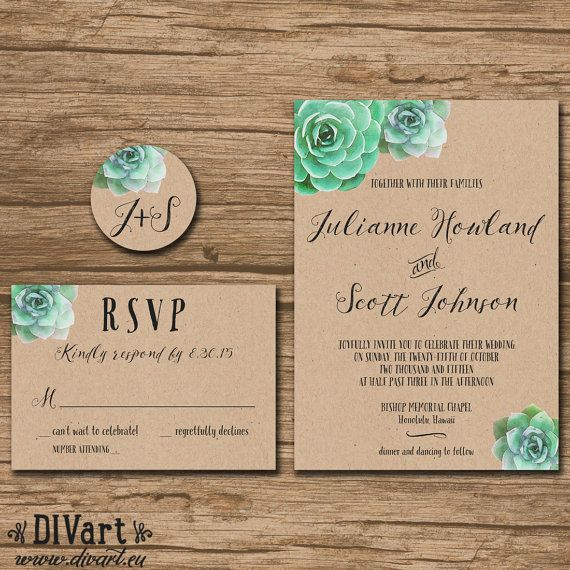 Succulent Wedding Invitation Suite, Response Card, Monogram - PRINTABLE files - garden wedding,
