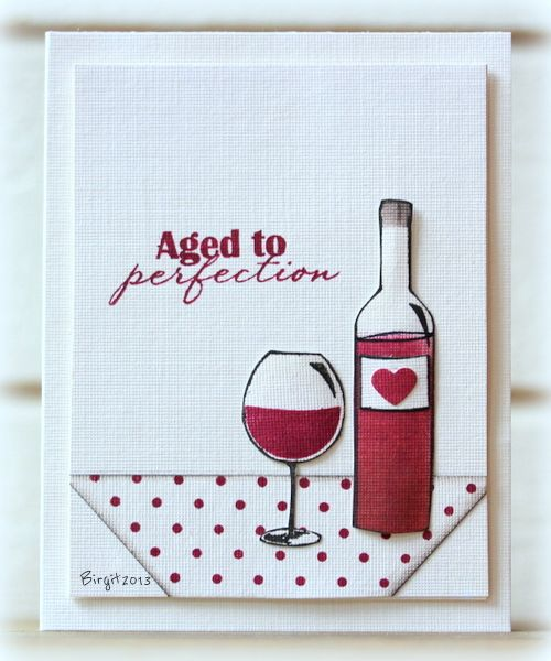 card drinks wine bottle and glasses card - birthday -  Red and White by Biggan - Cards and Paper Crafts at Splitcoaststampers