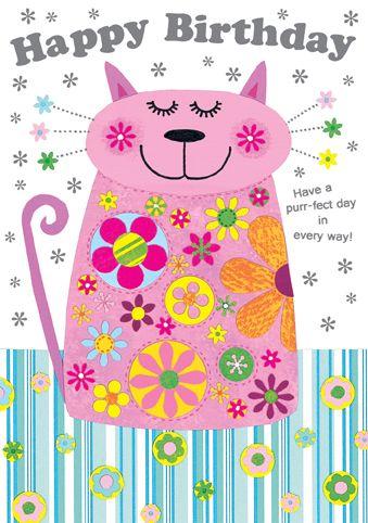 Portabello Pussy Cat birthday card