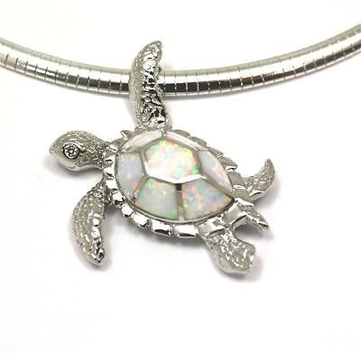 INLAY OPAL SILVER 925 HAWAIIAN SEA TURTLE PENDANT LARGE