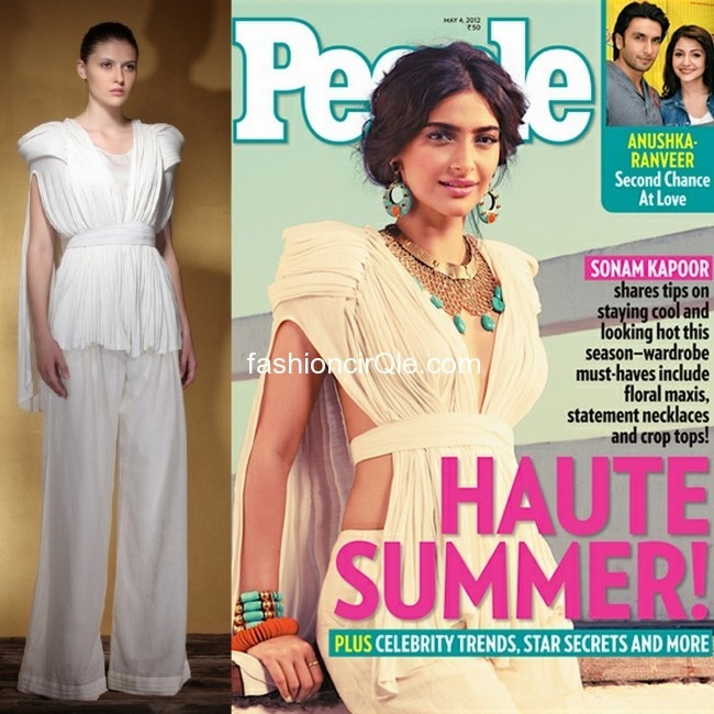 Styled by her sister Rhea Kapoor, Sonam Kapoor looks gorgeous on the cover of India's People Magazine (May 2012 issue) wearing a killer ensemble from Morphe by Amit Aggarwal