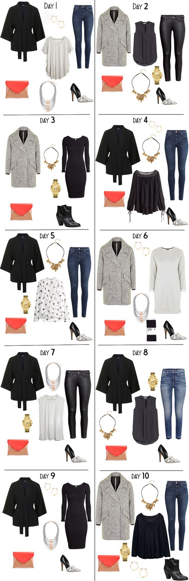 Packing Light. What to Pack for 10 Days in For smart casual business wear. 10 Night Outfit options