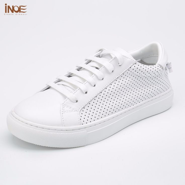 INOE 2017 fashion style genuine leather women casual summer shoes high  quality leisure breathable shoes flats