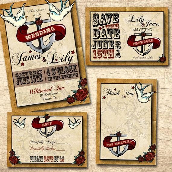 Invitaciones de boda personalizada tatuaje por LilyCielBridal