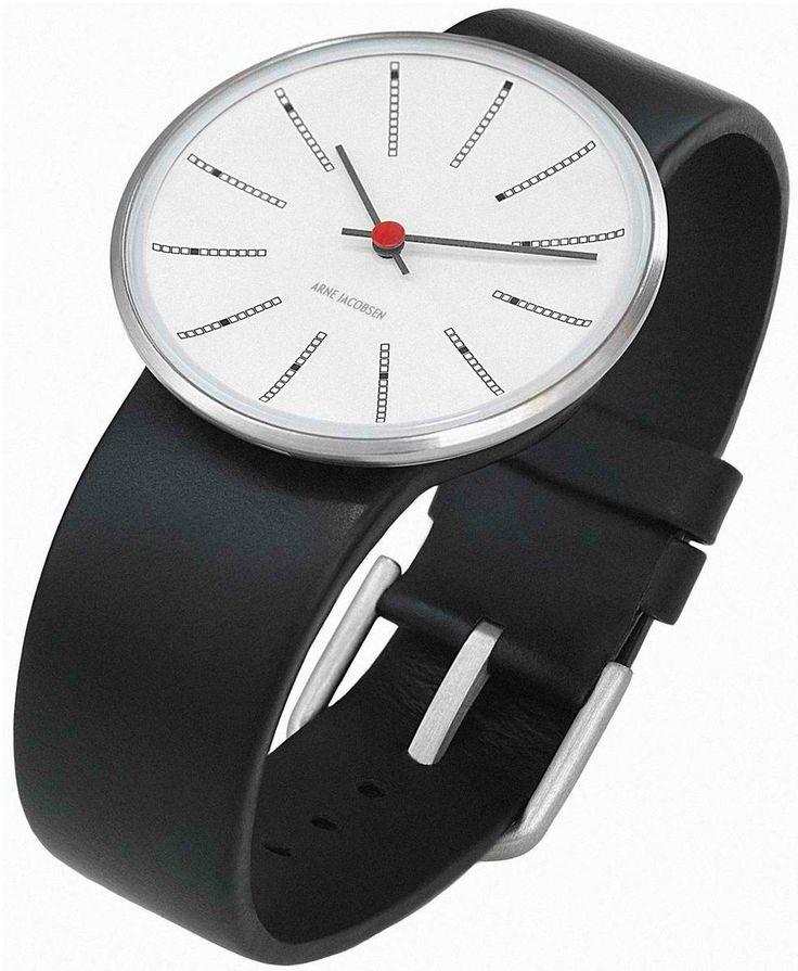 Arne Jacobsen Banker's Watch White with Black Strap visit shopbalthazar.com