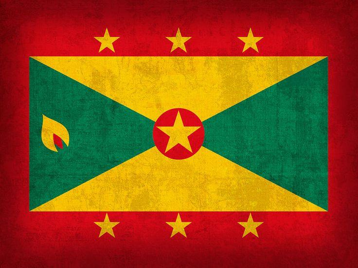 Grenada Flag Vintage Distressed Finish Mixed Media